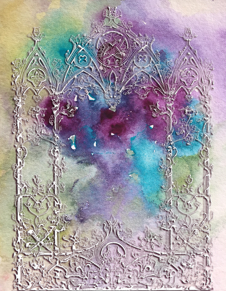Gothic filigree window on watercolour