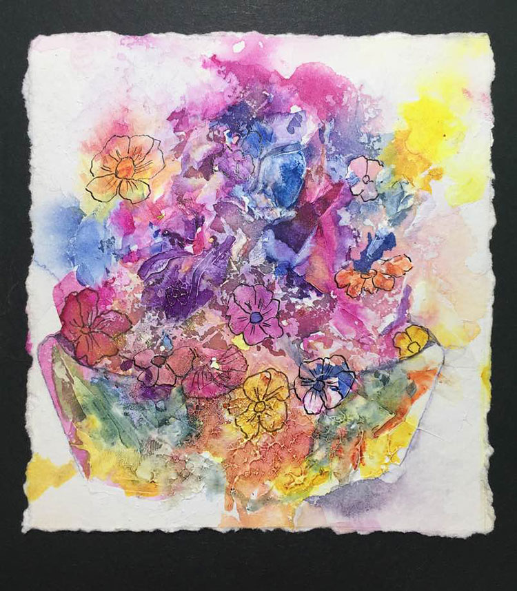 Bowl of flowers in watercolour and ink on a gessoed surface